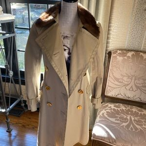 Coach Removable Mink Collar Trench Coat
